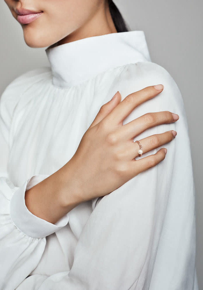 Contemporary Pearl Ring, PANDORA Rose™ & Freshwater Cultured Pearl