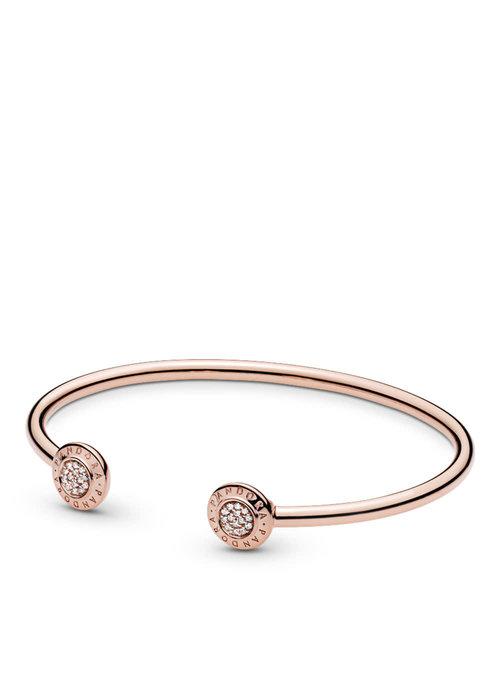 Pandora PANDORA Signature Open Bangle Bracelet, PANDORA Rose™