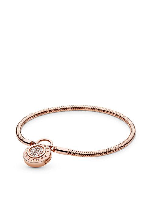 Pandora Smooth PANDORA Rose™ Bracelet, Signature Padlock