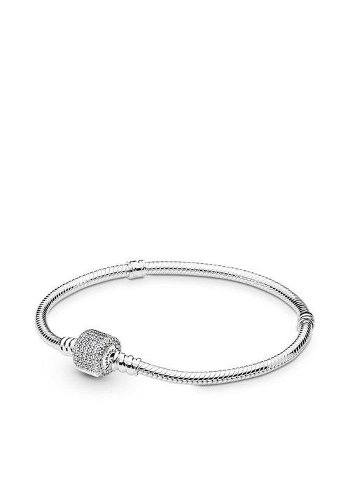 Pandora Sterling Silver Bracelet w/ Signature Clasp, Clear CZ