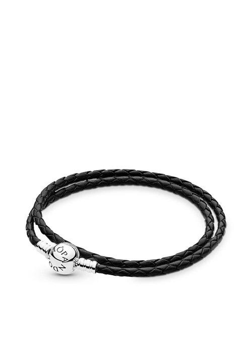 Pandora Black Braided Double-Leather Charm Bracelet
