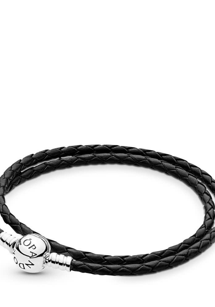 Black Braided Double-Leather Charm Bracelet