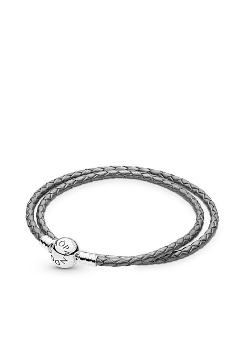 Pandora Grey Braided Double-Leather Charm Bracelet