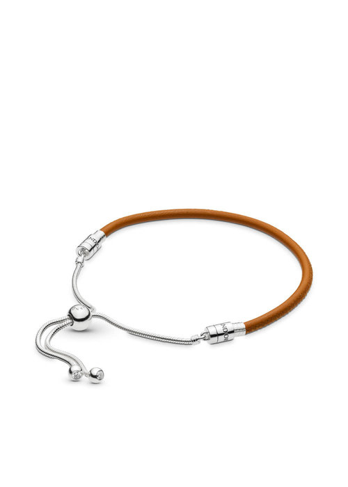 Pandora Sliding Golden Tan Leather Bracelet
