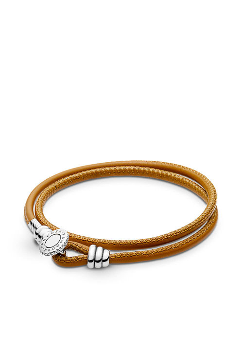 Pandora Golden Tan Double Leather Bracelet
