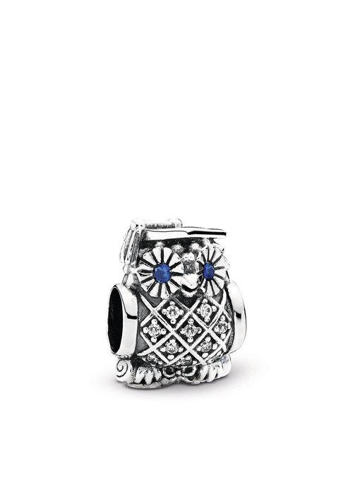 Pandora Graduate Owl, Swiss Blue Crystal & Clear CZ