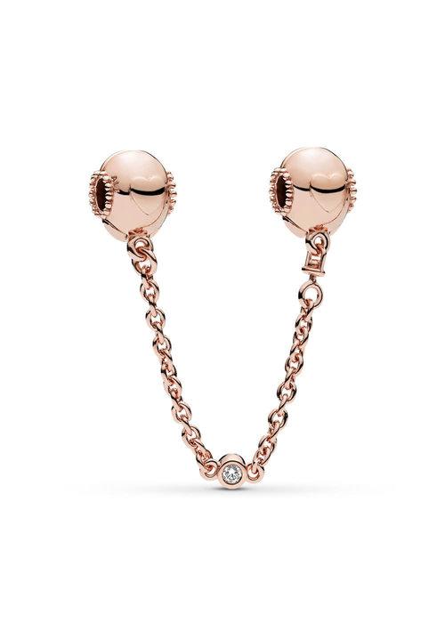 Pandora Embossed Hearts Safety Chain, PANDORA Rose™