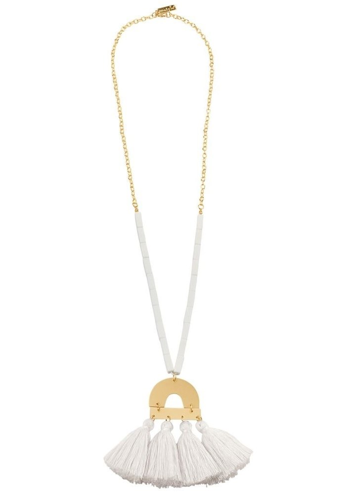 Beaded 4-Tassel Gold Metal Necklace