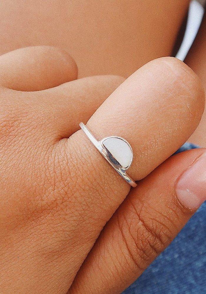 Half Moon Howlite Ring