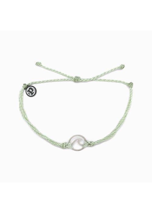 Pura Vida Silver Wave Charm Bracelet Minty Green