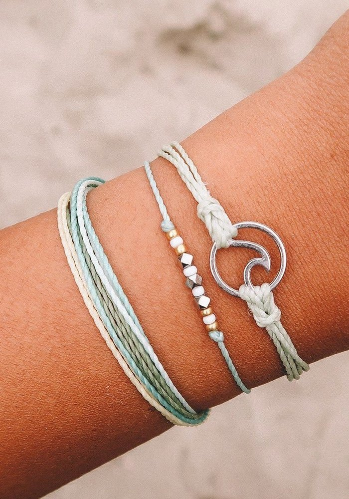 Silver Wave Charm Bracelet Minty Green