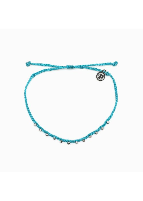 Pura Vida Silver Stitched Beaded Anklet Pacific Blue