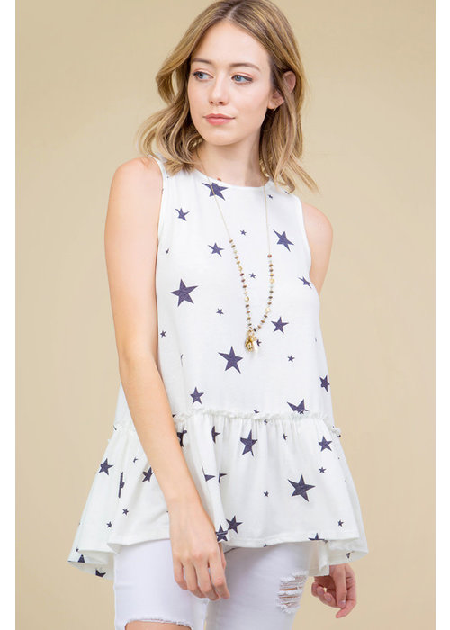 Star Print Sleeveless Ruffle Hem Top