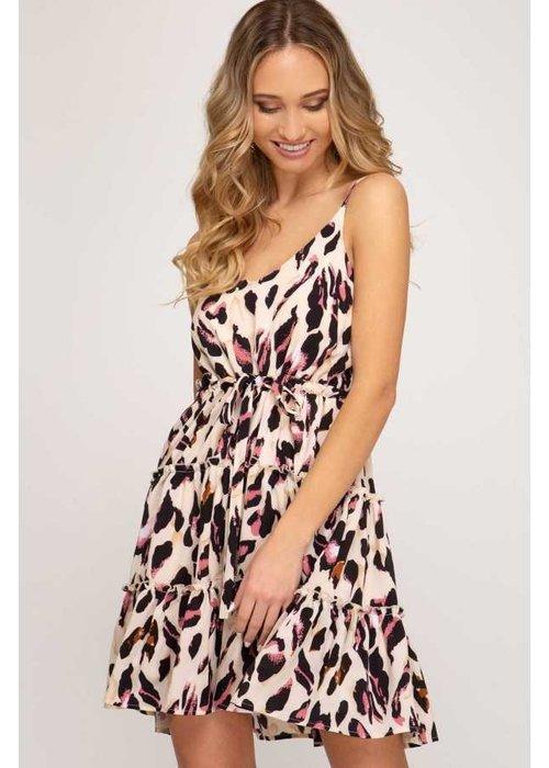 Taupe/Pink Print Woven Flounce Cami Dress