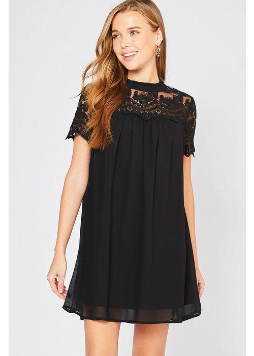 Short Sleeve Lace Yoke Detail Dress