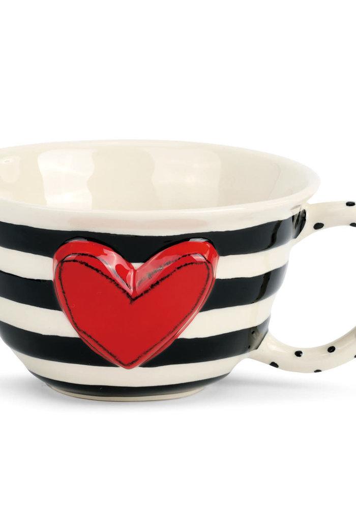 Wide Stripe Heart Tea Cup