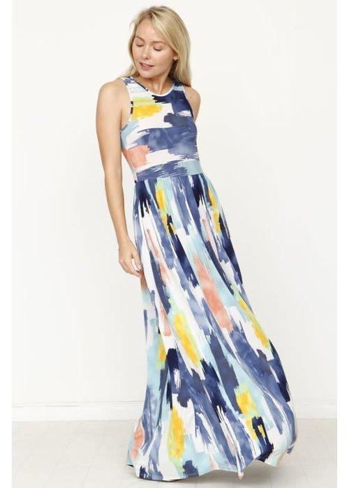 Yellow/Navy Pocket Maxi Dress