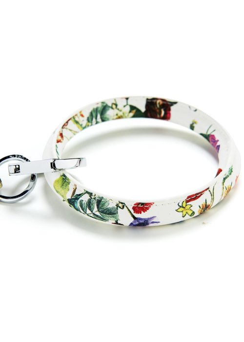 Oventure Luxe White Floral Leather Big O Ring