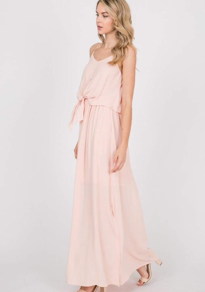Woven Maxi Dress with Front Tie
