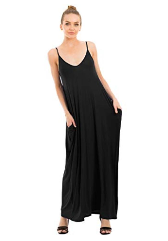 Spaghetti Strap Maxi Dress w/Pockets