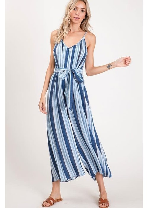 Stripe Wide Leg Jumpsuit with Tie