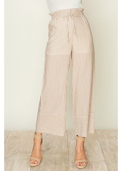 Cotton Wide Leg Pants with Tie