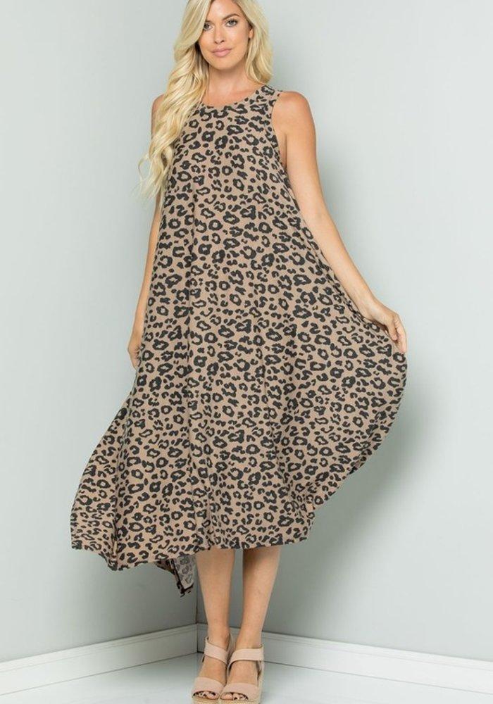 Mocha Leopard Print Dress