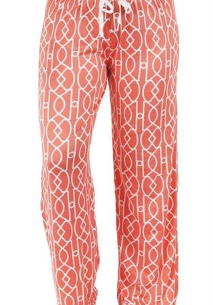 Coral Lattice Lounge Pants