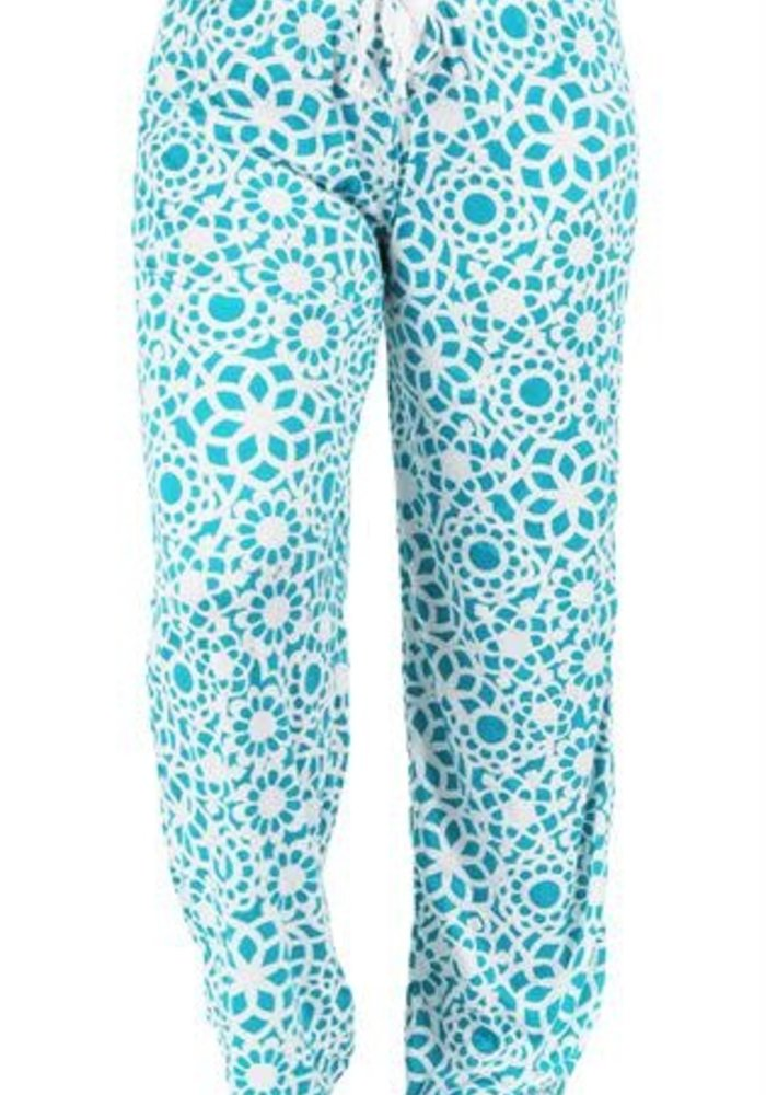 Teal Lace Print Lounge Pants