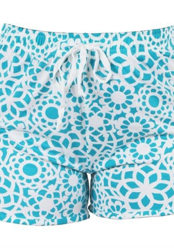 Teal Lace Print Lounge Shorts