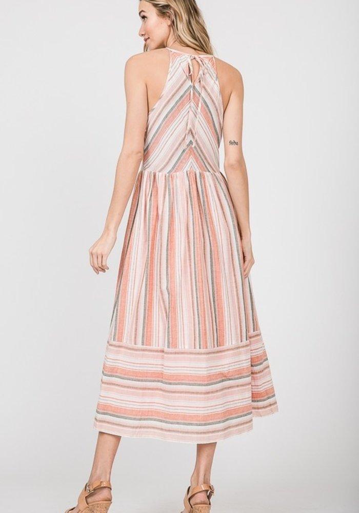 Orange Print Rayon Halter Dress