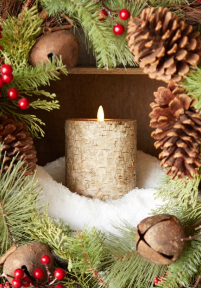 "Birch Wrapped 7"" Moving Flame Pillar Candle"