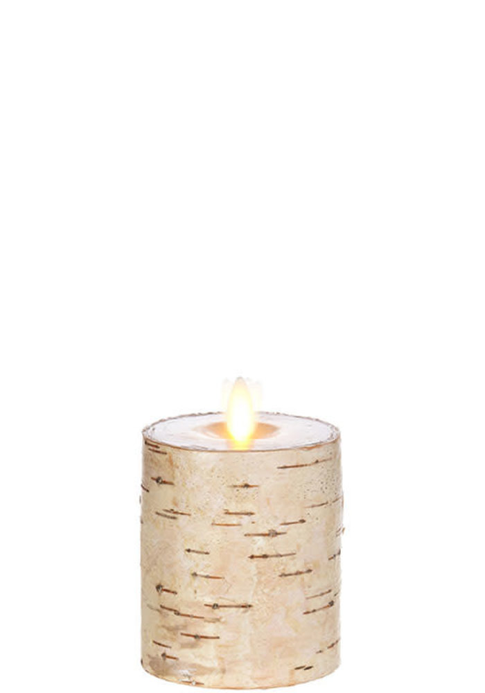 "Birch Wrapped 3"" Moving Flame Pillar Candle"