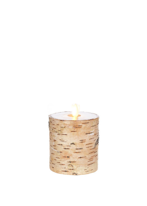 "Birch Wrapped 4"" Moving Flame Pillar Candle"