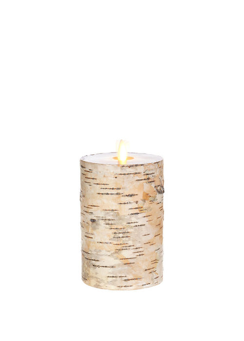 "Birch Wrapped 6"" Moving Flame Pillar Candle"