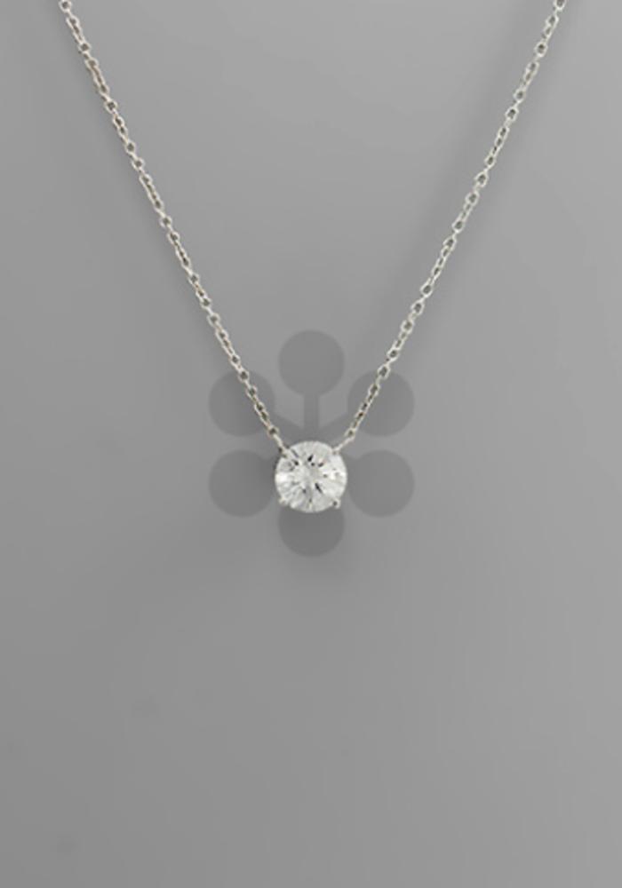 Rhodium Round Crystal Pendant Necklace