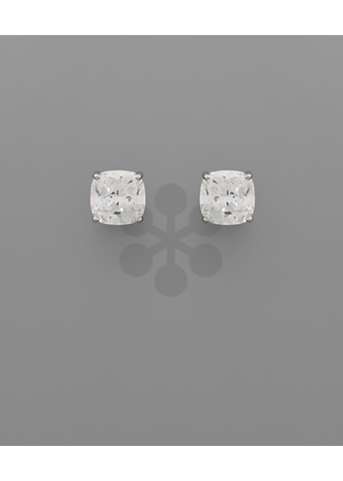 Rounded Crystal Rhodium Stud Earrings