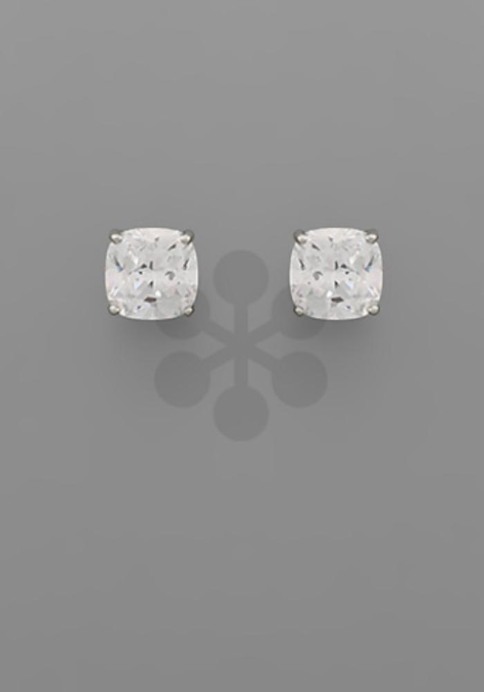 Rounded Crystal Rhodium Stud Earrings
