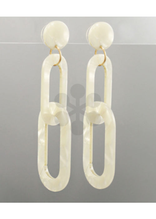 White Shell Acrylic Removable Link Earrings