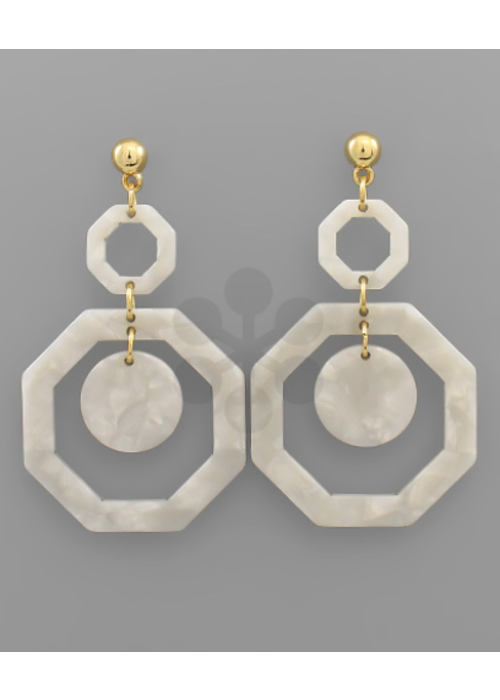 White Shell Acrylic Octagon Layer Earring