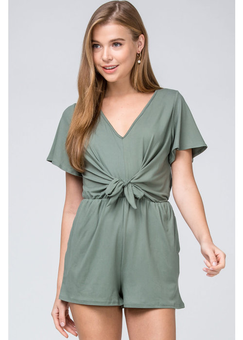 Solid V-Neck Tie Detail Romper