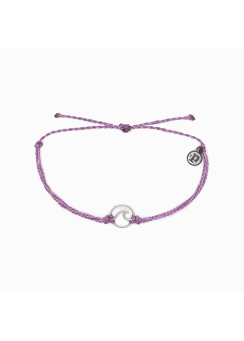 Pura Vida Silver Wave Charm Bracelet Light Purple
