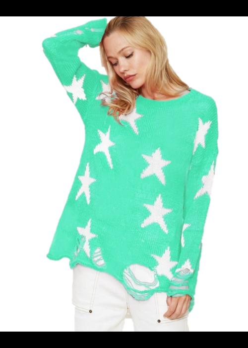 Mint Star Sweater