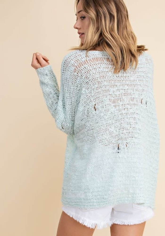 Baby Blue Distressed Sweater