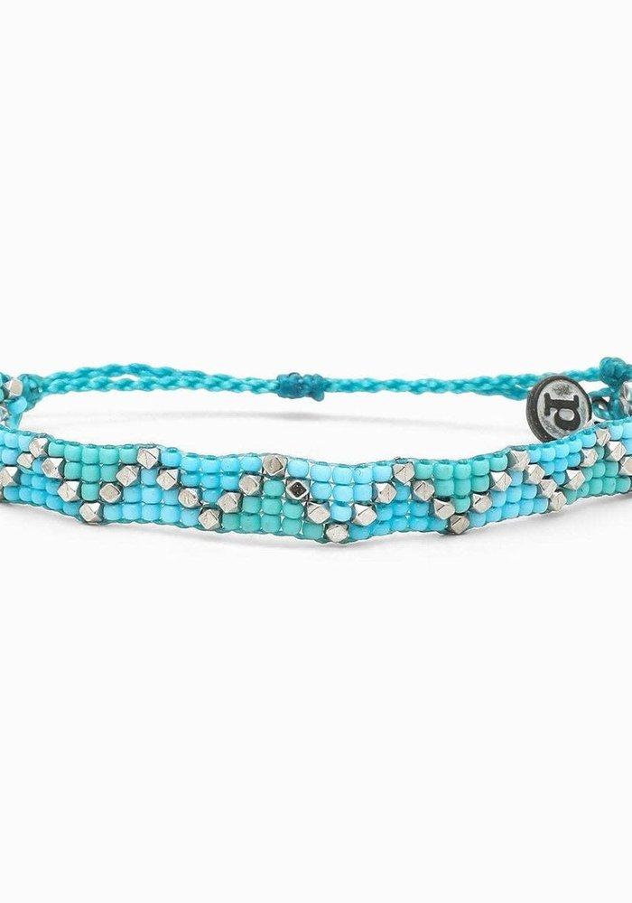 Blue Metal Woven Seed Bead Bracelet