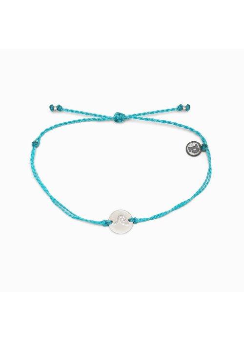 Pura Vida Silver Wave Coin Bracelet Pacific Blue