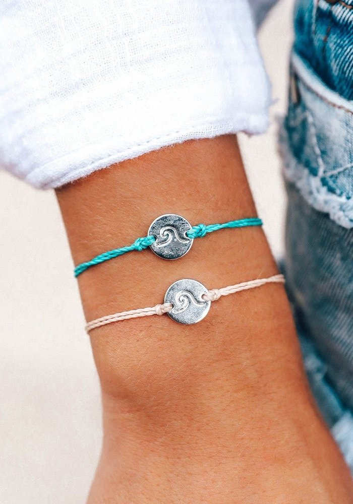 Silver Wave Coin Bracelet Pacific Blue