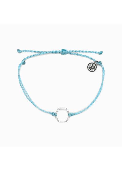 Pura Vida Hexagon Bracelet Light Blue