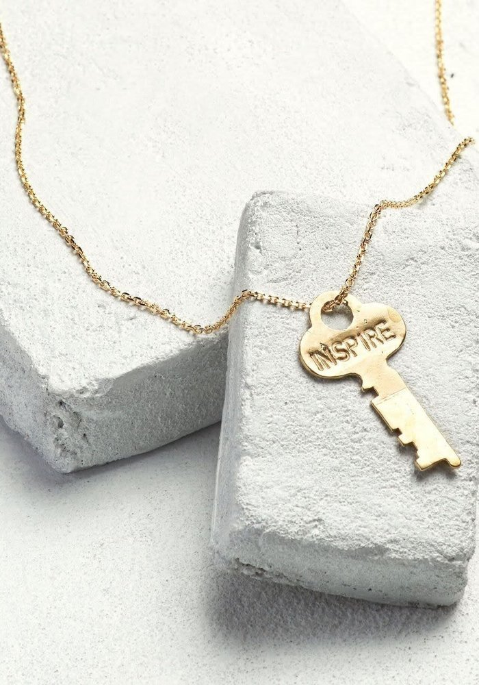 Giving Keys Inspirational Word Dainty Key Necklace