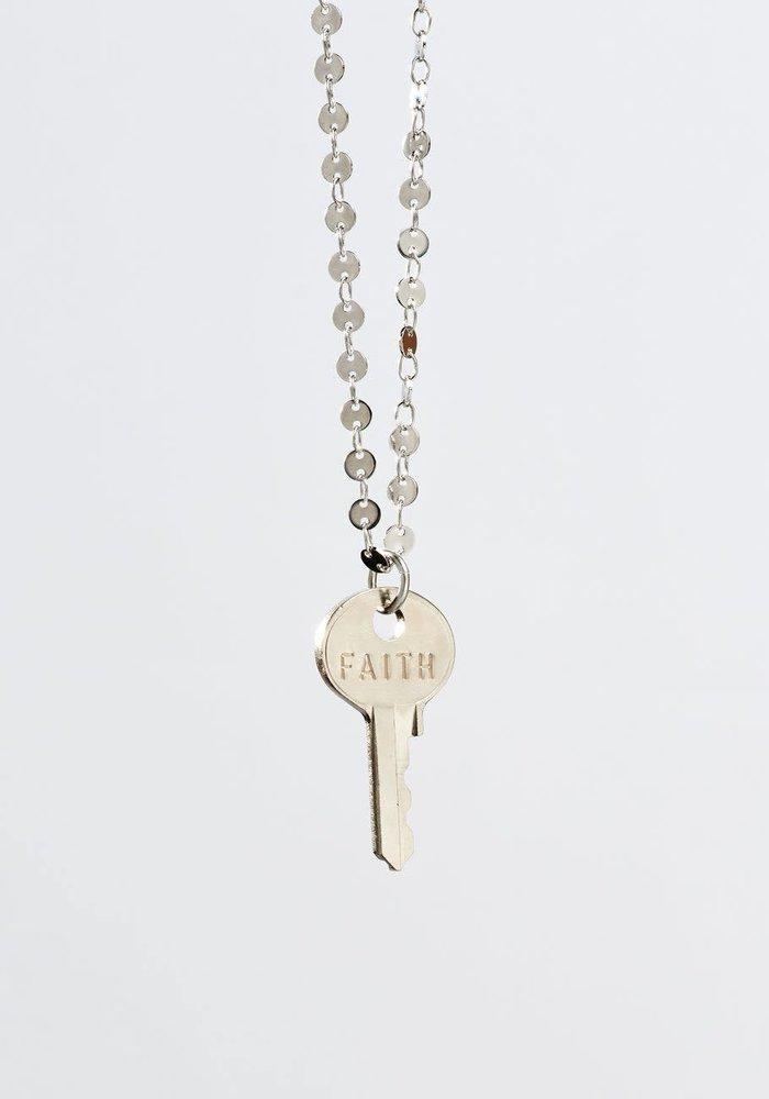 Giving Keys Inspirational Word Barcelona Dainty Key Necklace